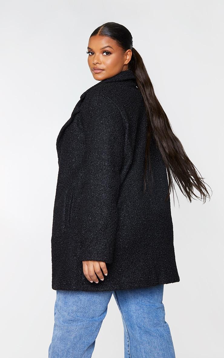 Plus Black Textured Longline Coat 2