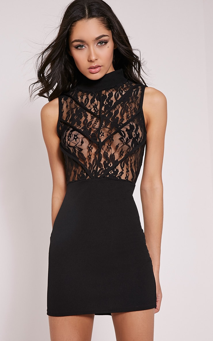 Vivian Black High Neck Lace Detail Bodycon Dress 1