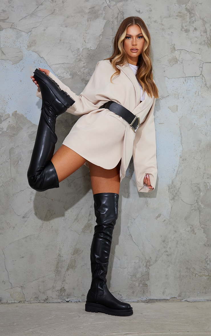 Black Double Sole Over The Knee Boots 1