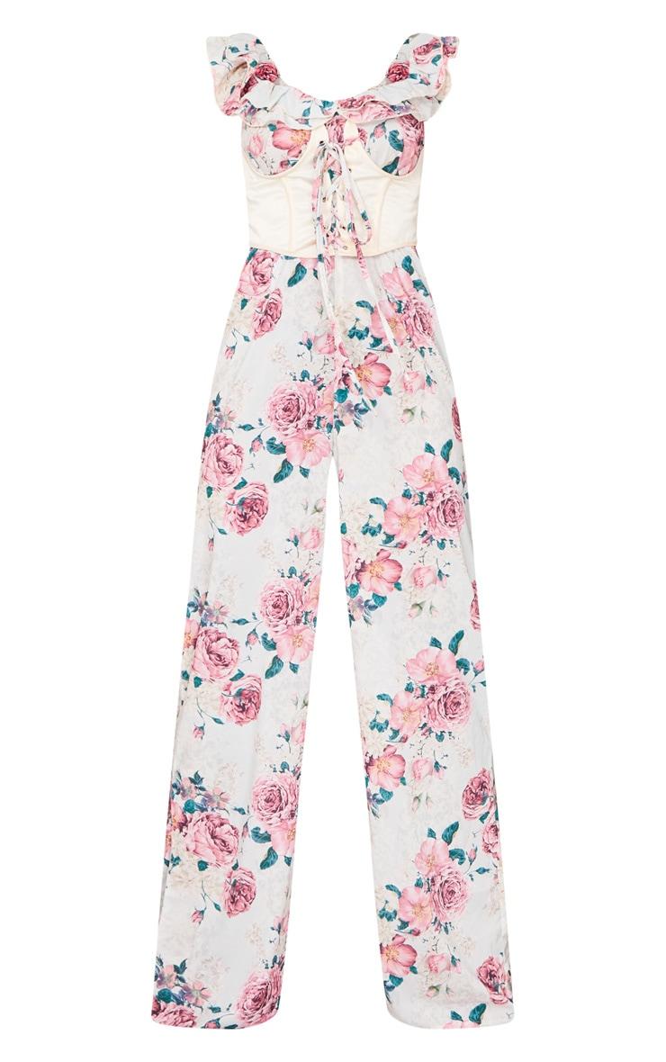 Pink Floral Print Corset Frill Bardot Jumpsuit 5