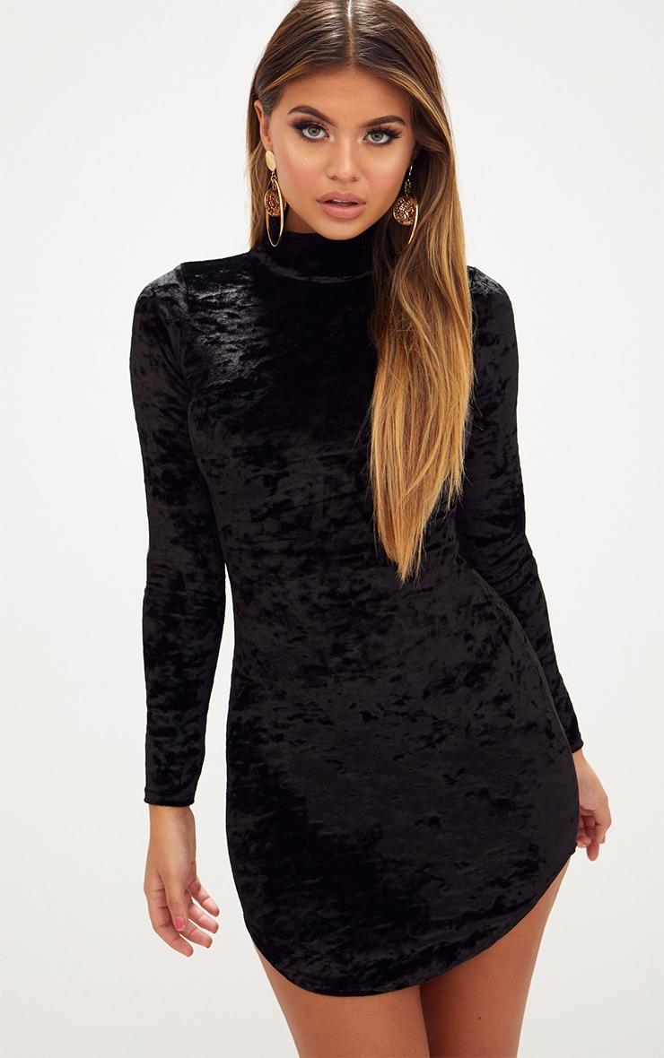 Petite velvet high neck scrunched bodycon dress