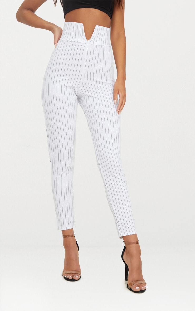 White Pinstripe Cut Out Waist Skinny Trousers  2