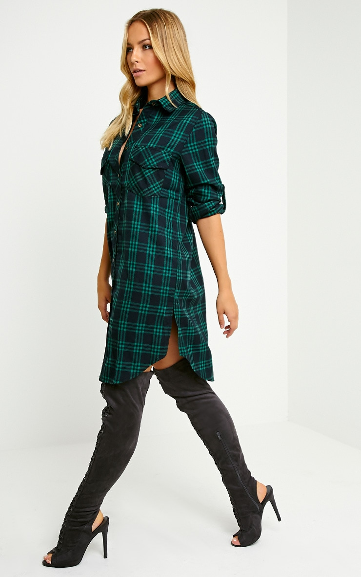 Bertram Green Checked Shirt Dress 3