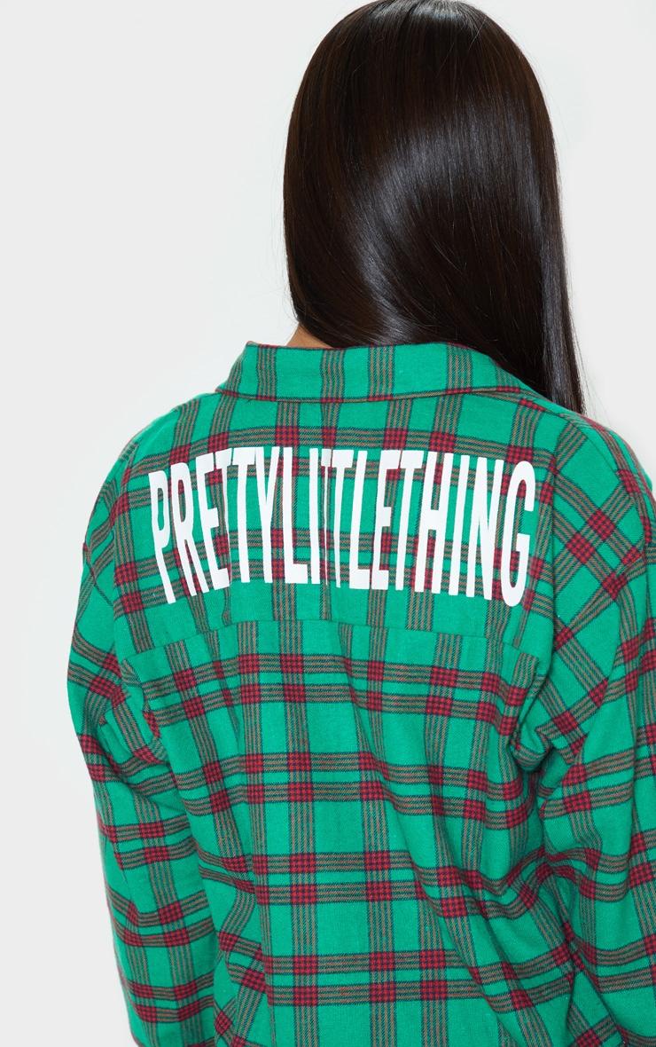 PRETTYLITTLETHING Green Slogan Checked Shirt Dress 5