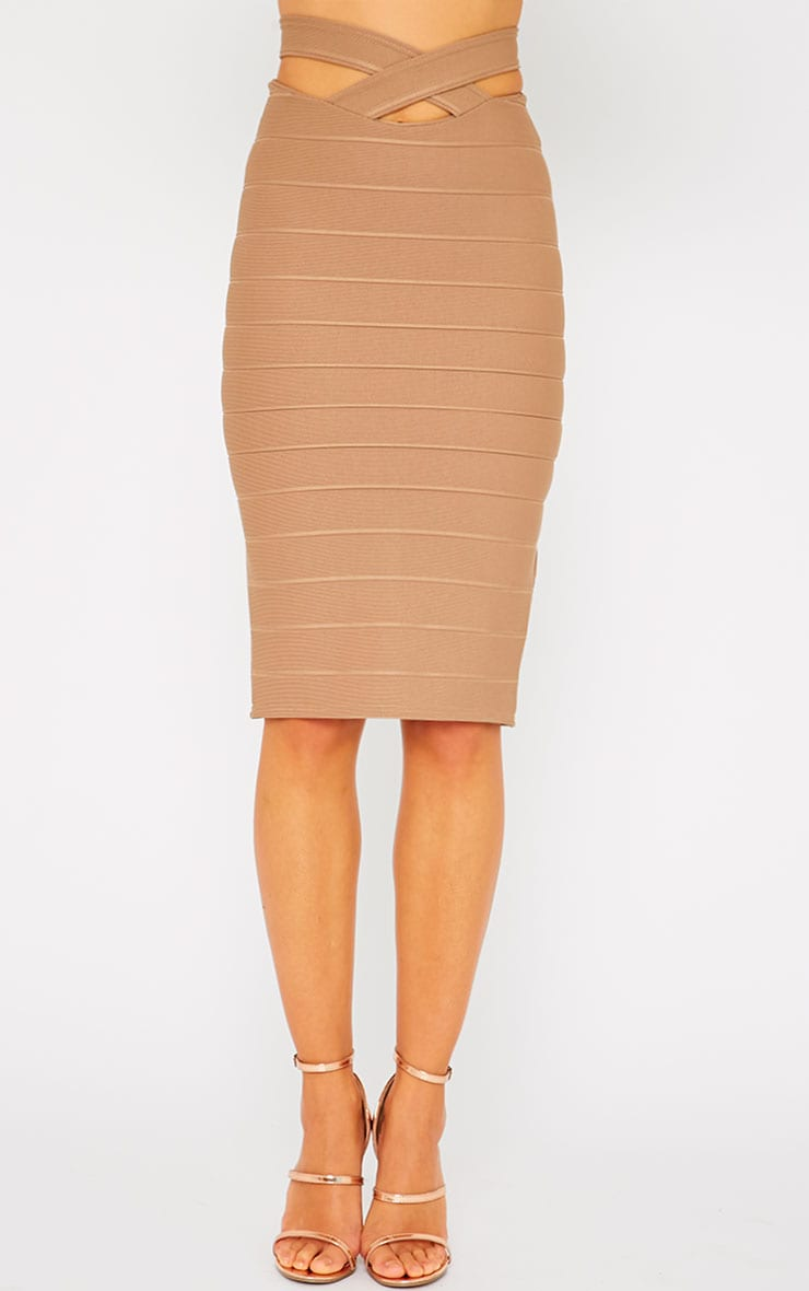Jaimie Mocha Cut Out Bandage Midi Skirt 2