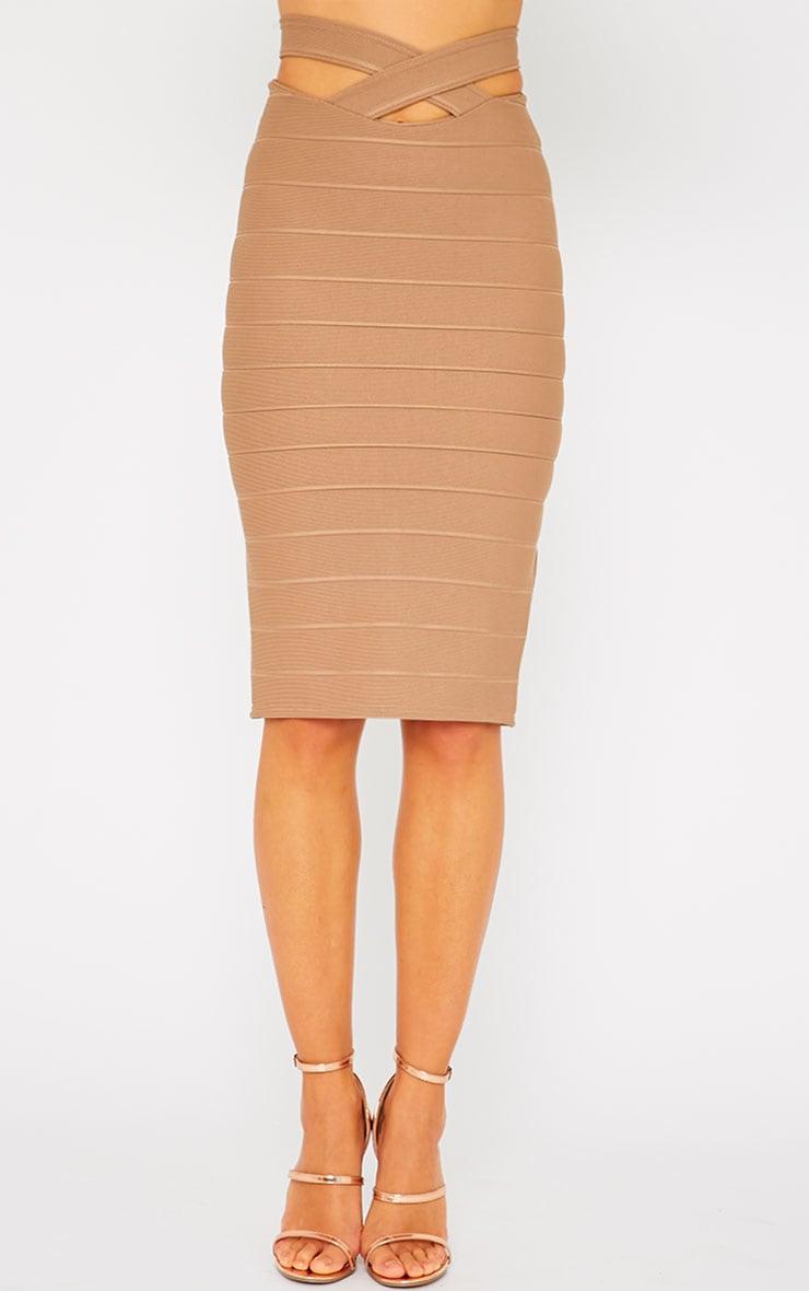 Jaimie Mocha Cut Out Bandage Midi Skirt 2