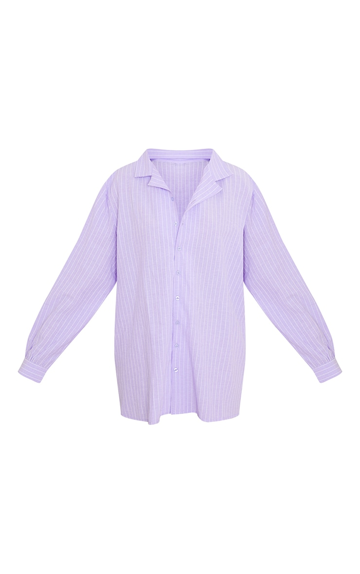 Lilac Striped Open Collar Oversized Nightshirt With Scrunchie 5