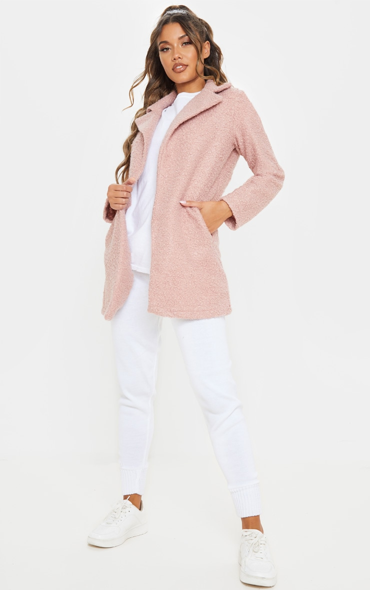 Dusty Pink Textured Oversized Coat 4