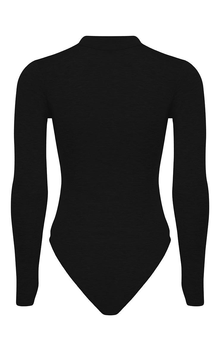 Zena Black Cut Out Neck Long Sleeve Jersey Bodysuit 4