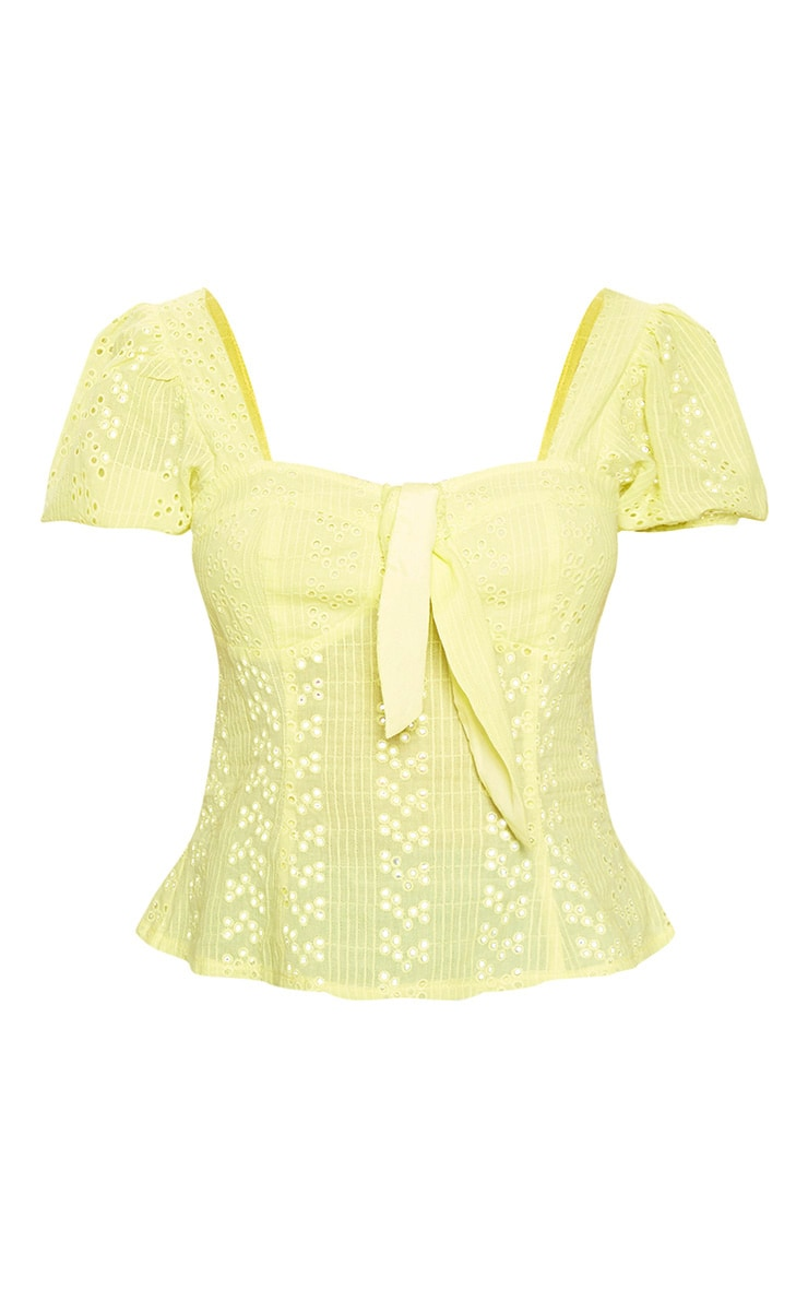 Lemon Broderie Anglaise Puff Sleeve Tie Front Top 3