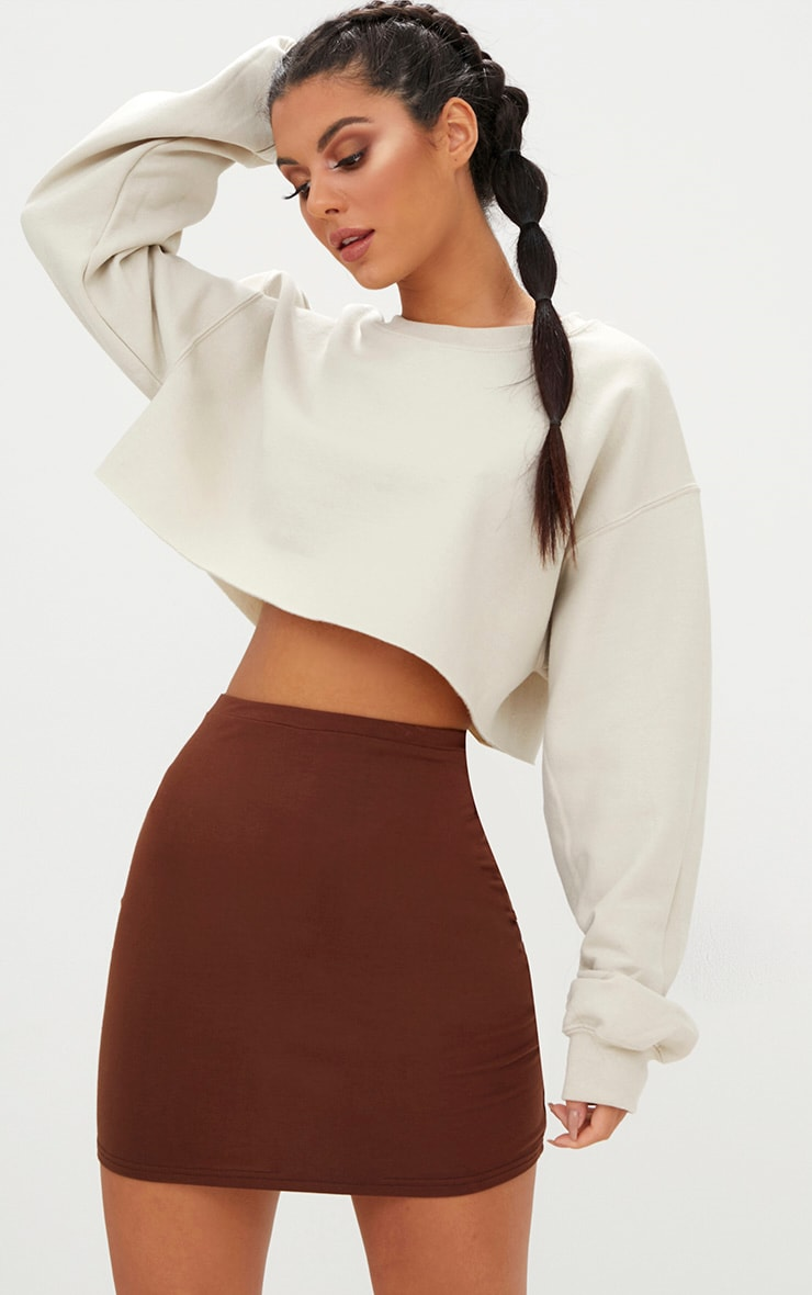 Chocolate Brown Ultimate Jersey Mini Skirt 1