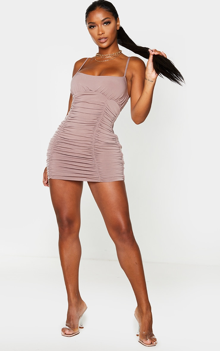 Shape Mocha Slinky Extreme Ruched Bodycon Dress 3