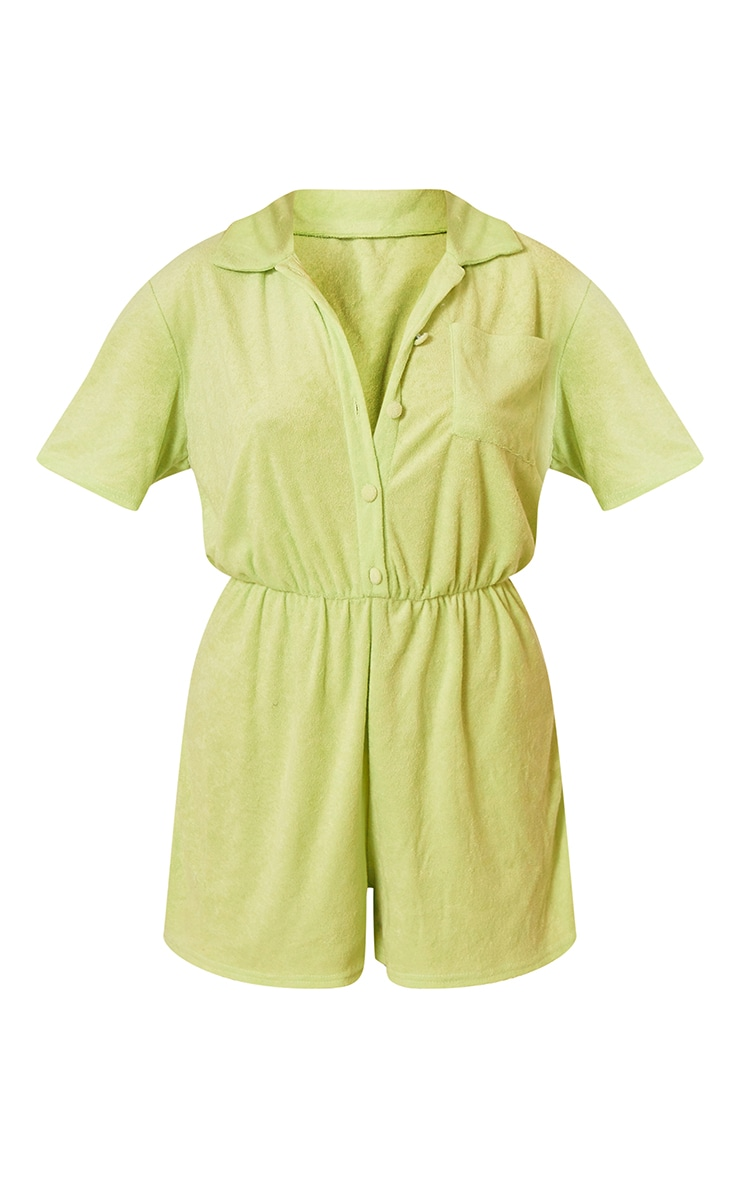 Pale Green Towelling Short Sleeve Shirt Romper 5