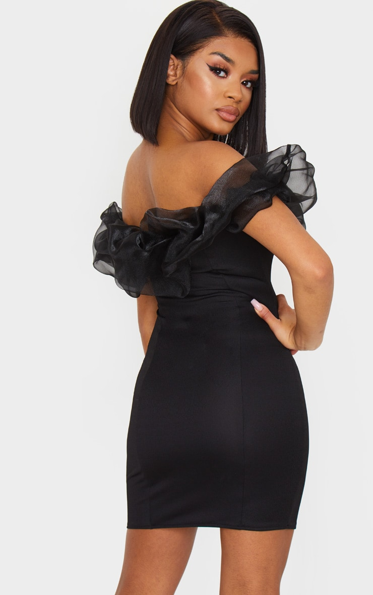 Petite Black Organza Ruffle Crepe Bodycon Dress 2