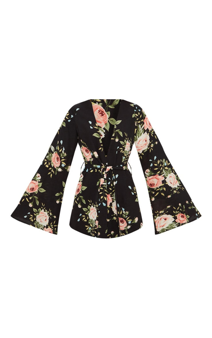 Petite Black Floral Woven Belt Detail Blazer 3