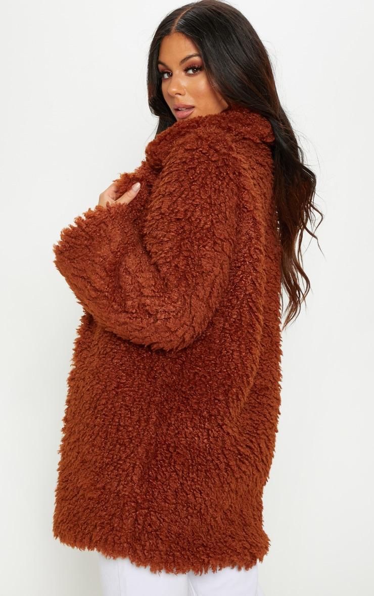 Brown Teddy Faux Fur Coat 2