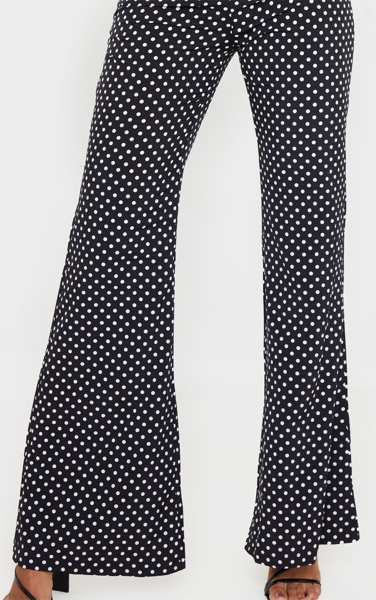 Black Polka Dot Print Wide Leg Pants 5