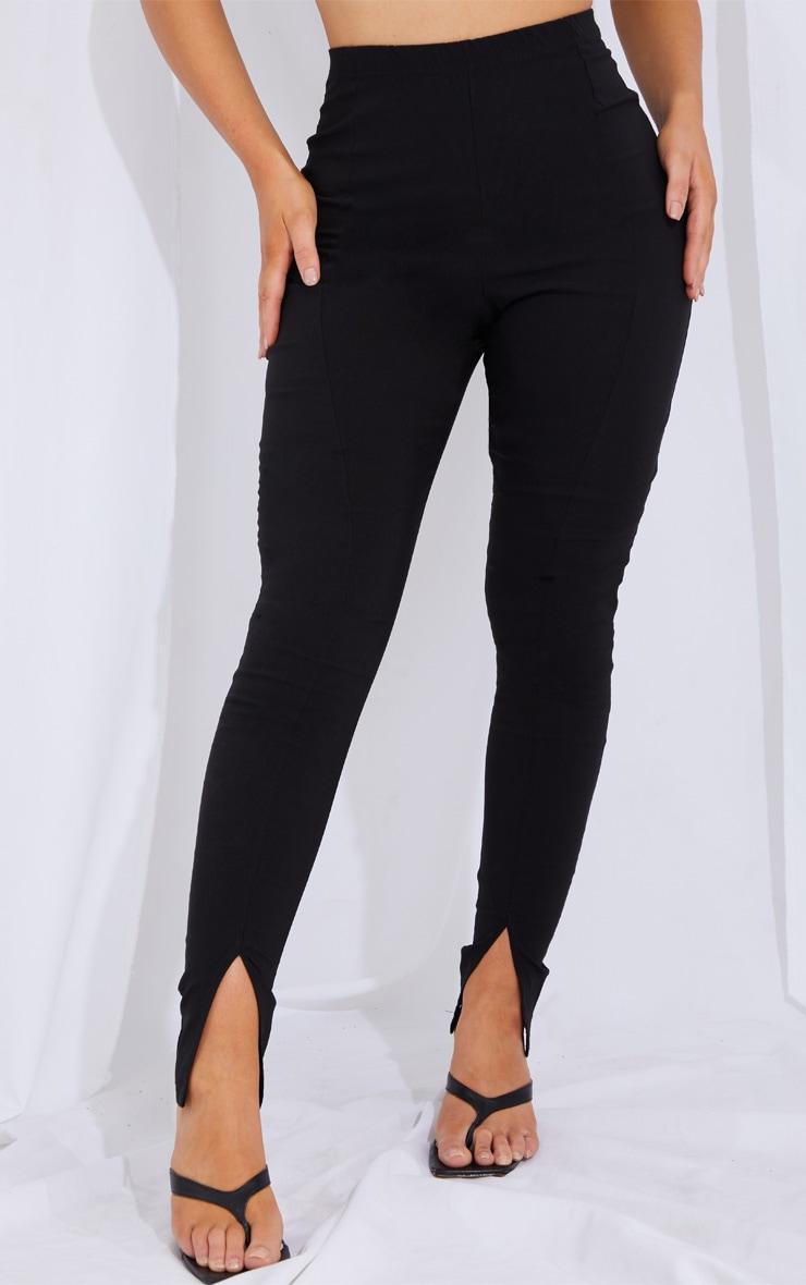 Black Stretch Split Hem Skinny Trousers 2