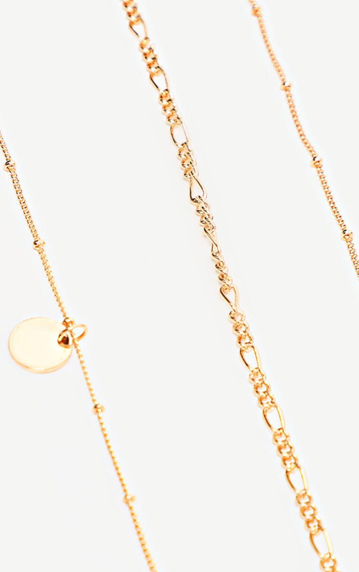 Gold Delicate Ball Chain And Disc Multi Layer Anklet 2