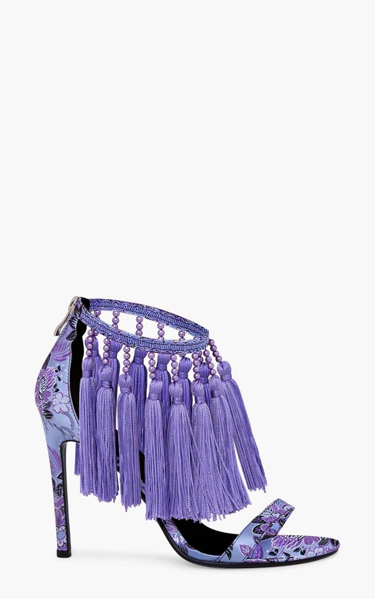 Purple Premium Tassel Embellished Heels 3