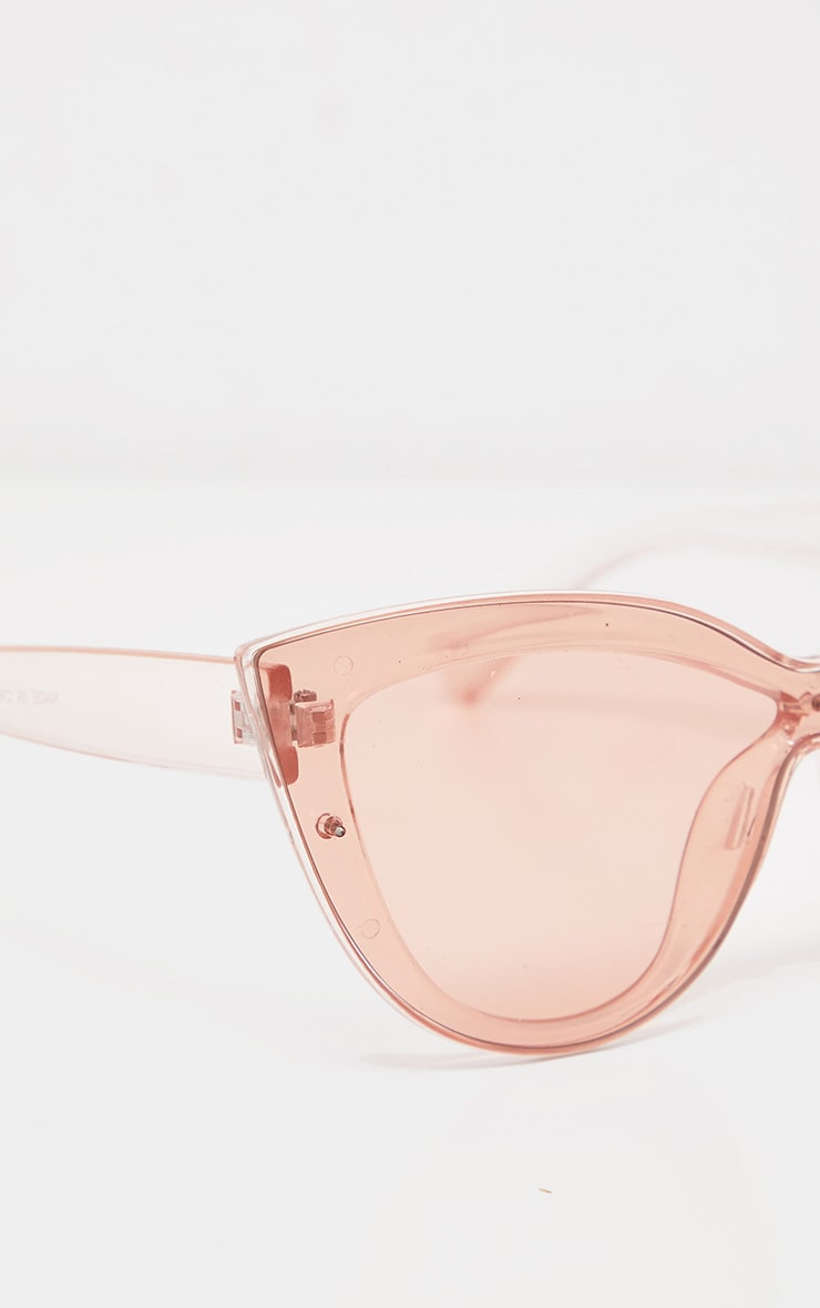 Peach Transparent Oversized Cat Eye Sunglasses 3
