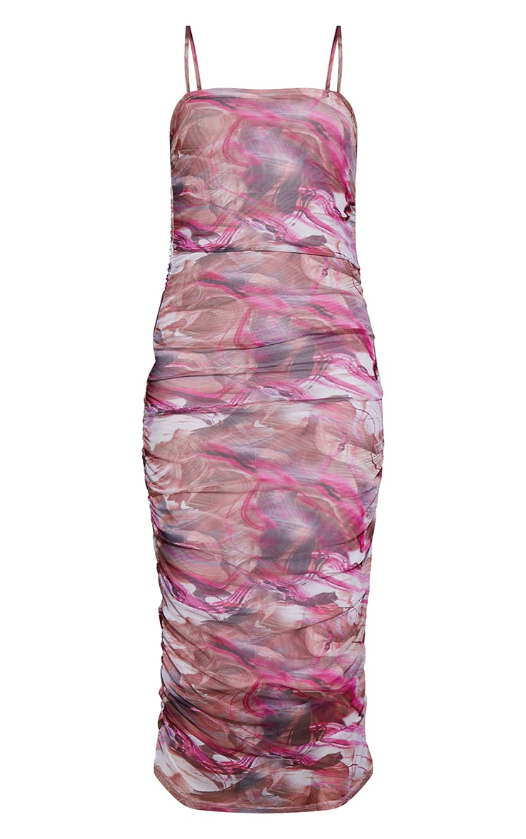 Pink Abstract Print Strappy Mesh Ruched Midaxi Dress 5