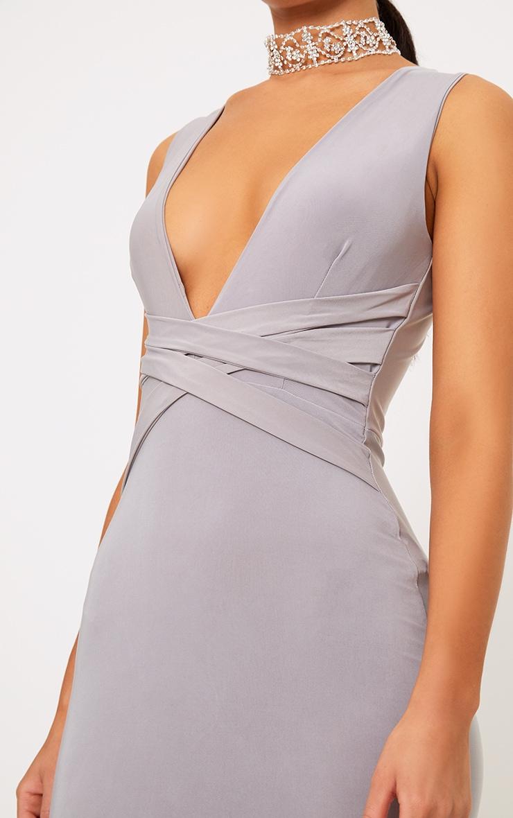 Maci Grey Double Wrap Slinky Maxi Dress 5