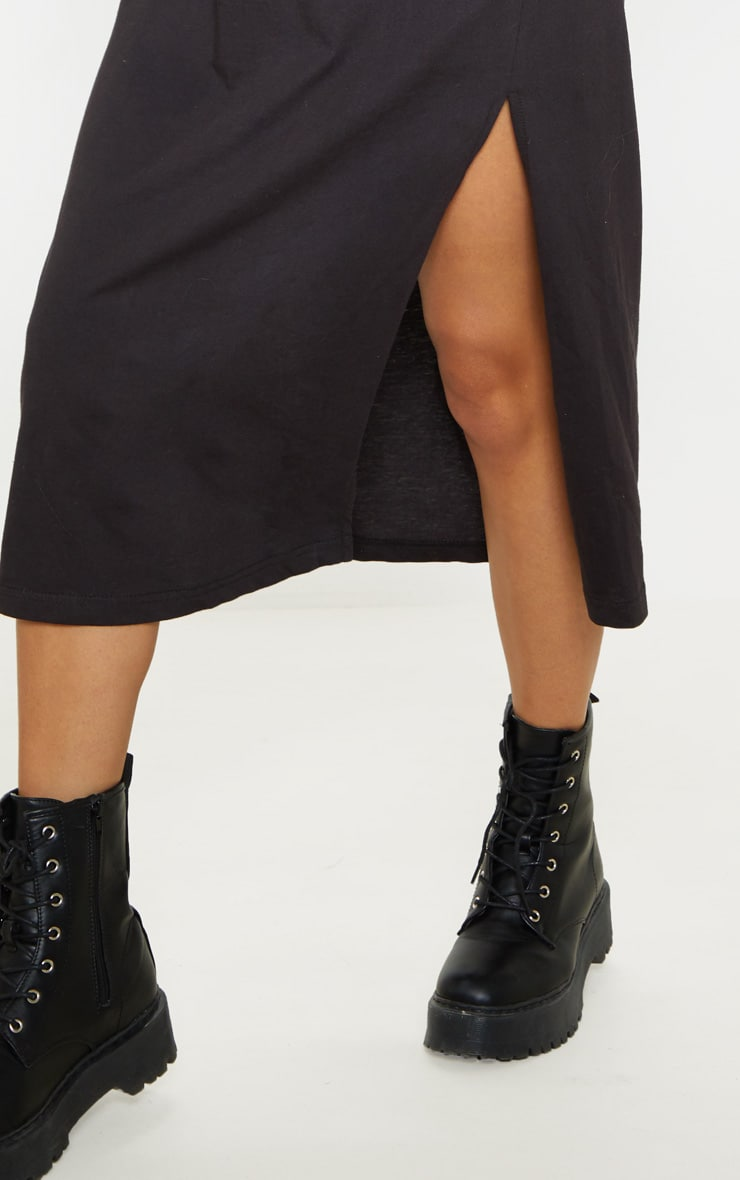 Black Split Side Midi T Shirt Dress 5