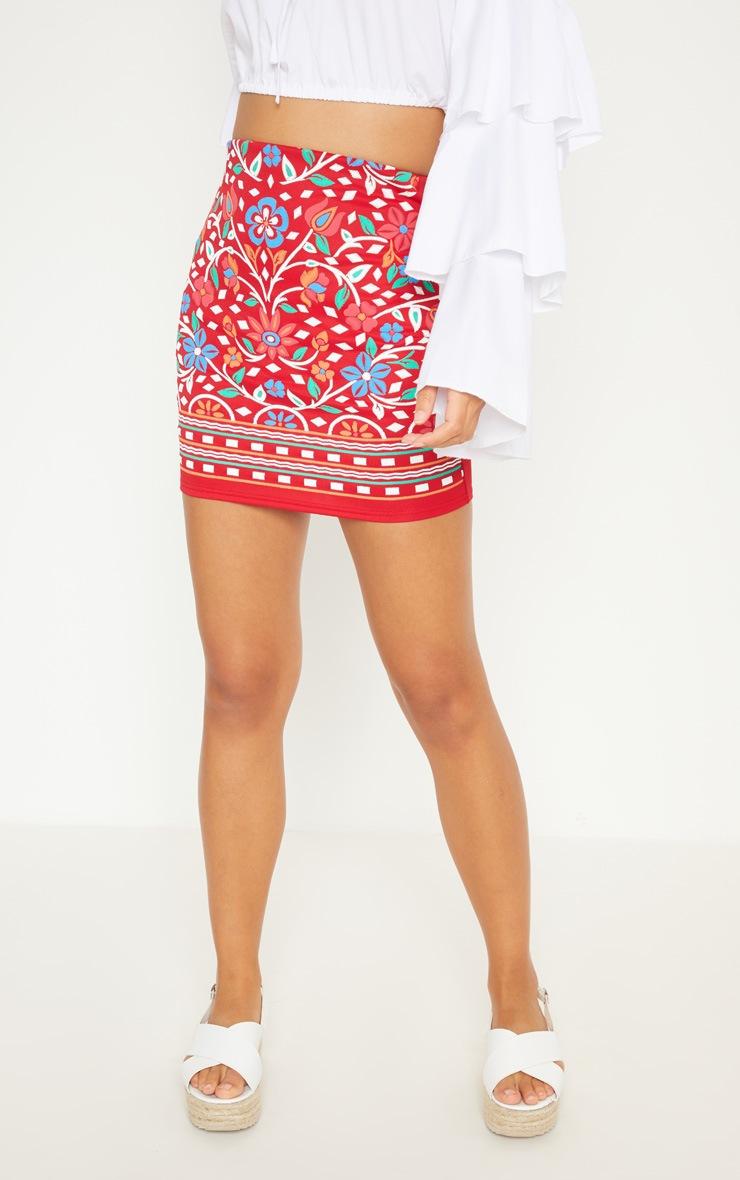Red Puff Print Mini Skirt 2