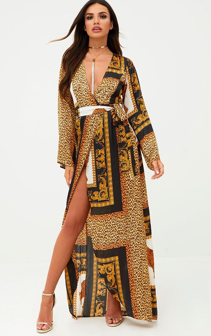 White Scarf Print Satin Kimono Maxi Dress 1