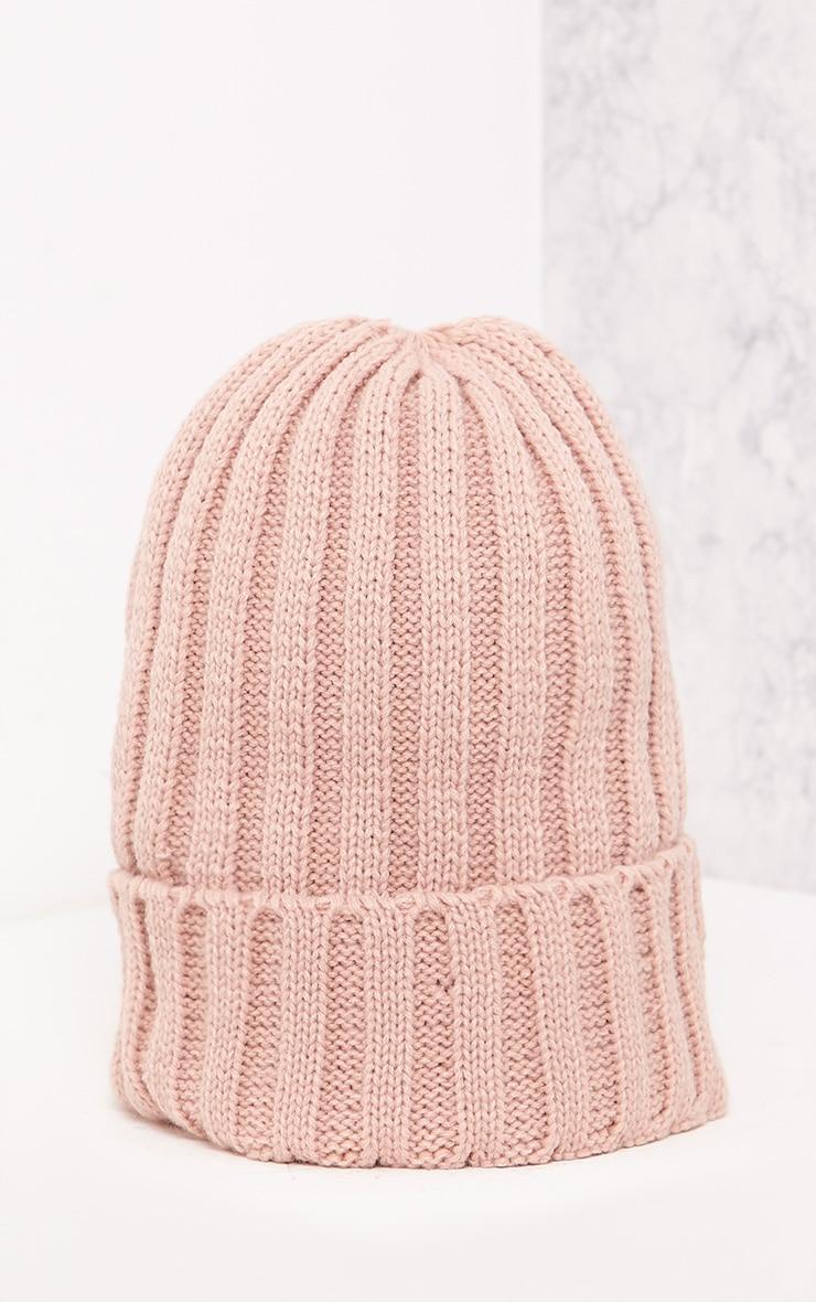 Hetra Blush Ribbed Beanie Hat 4