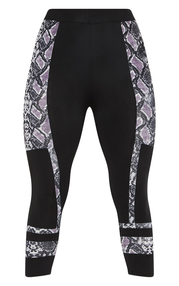 Black Snake Stripe Panel 3/4 Gym Legging 3