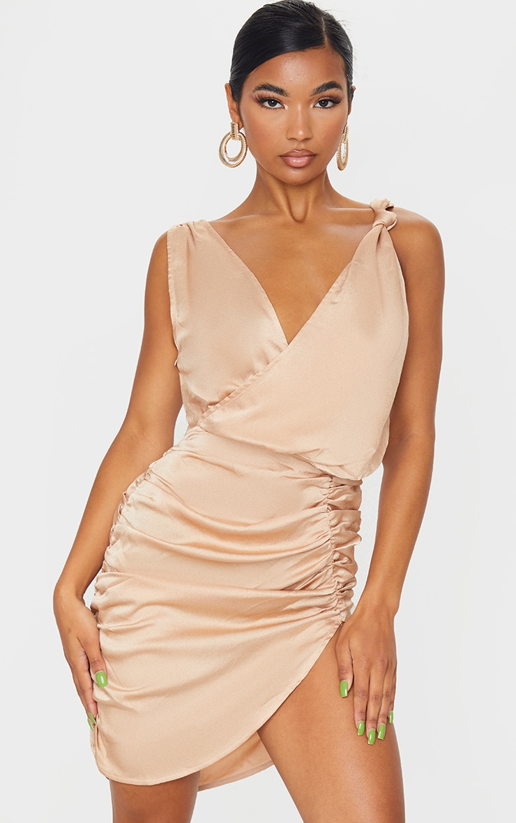 Stone Satin Plunge Wrap Ruched Bodycon Dress 1