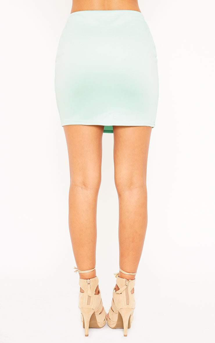 Basic Mint Scuba Mini Skirt 2