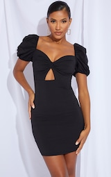Black Puff Sleeve Knot Bust Detail Bodycon Dress 3