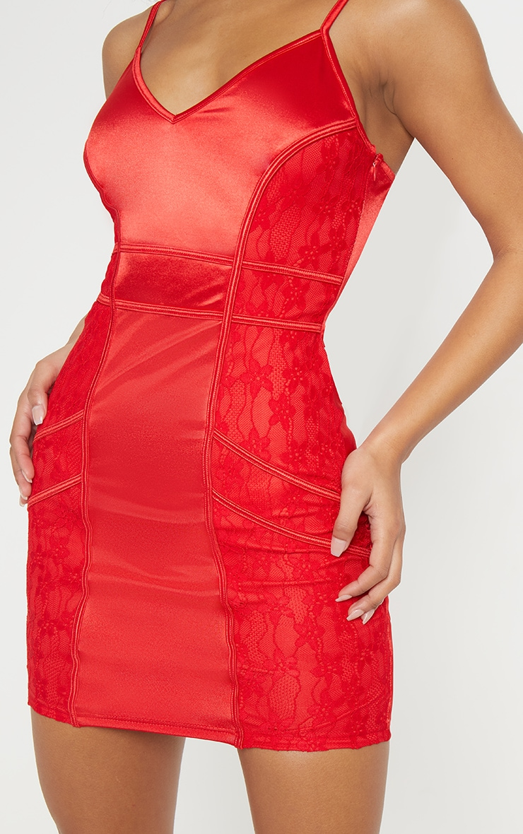 Red Satin Piped Lace Insert Bodycon Dress 4