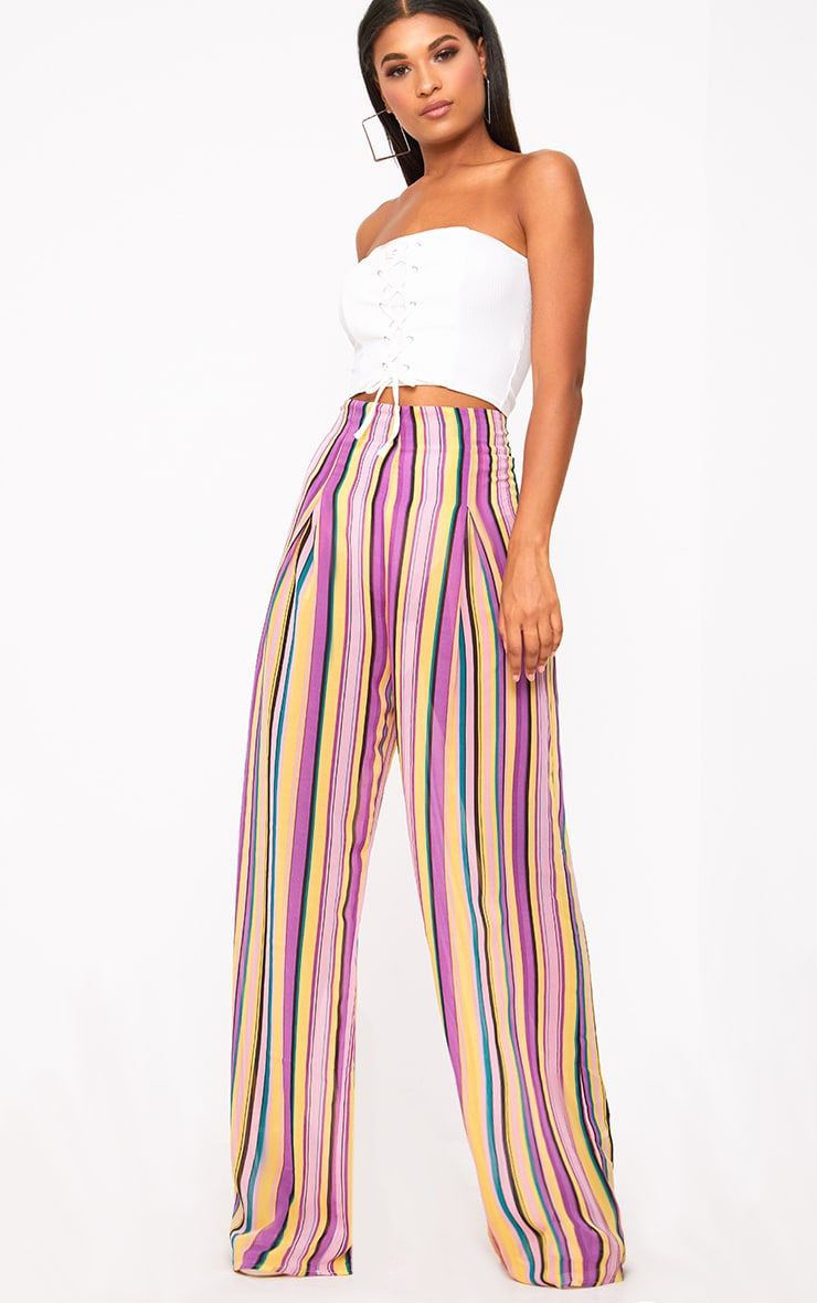 Pink Chiffon Stripe High Waisted Wide Leg Trousers 1
