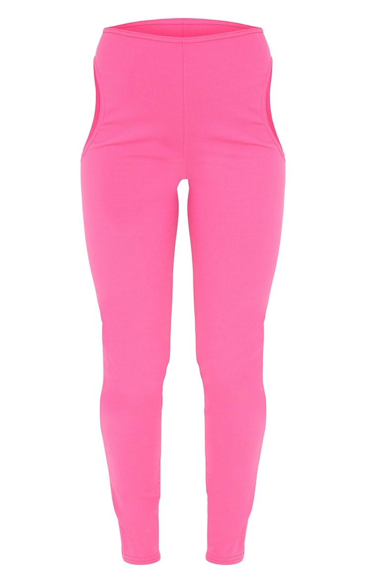 Hot Pink Crepe Cut Out Leggings 5