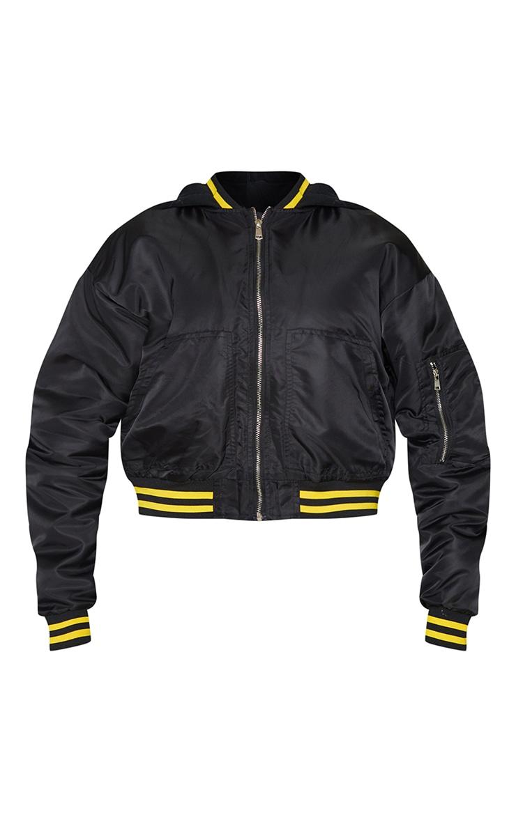 PRETTYLITTLETHING Black Nylon Contrast Jersey Hooded Bomber 5