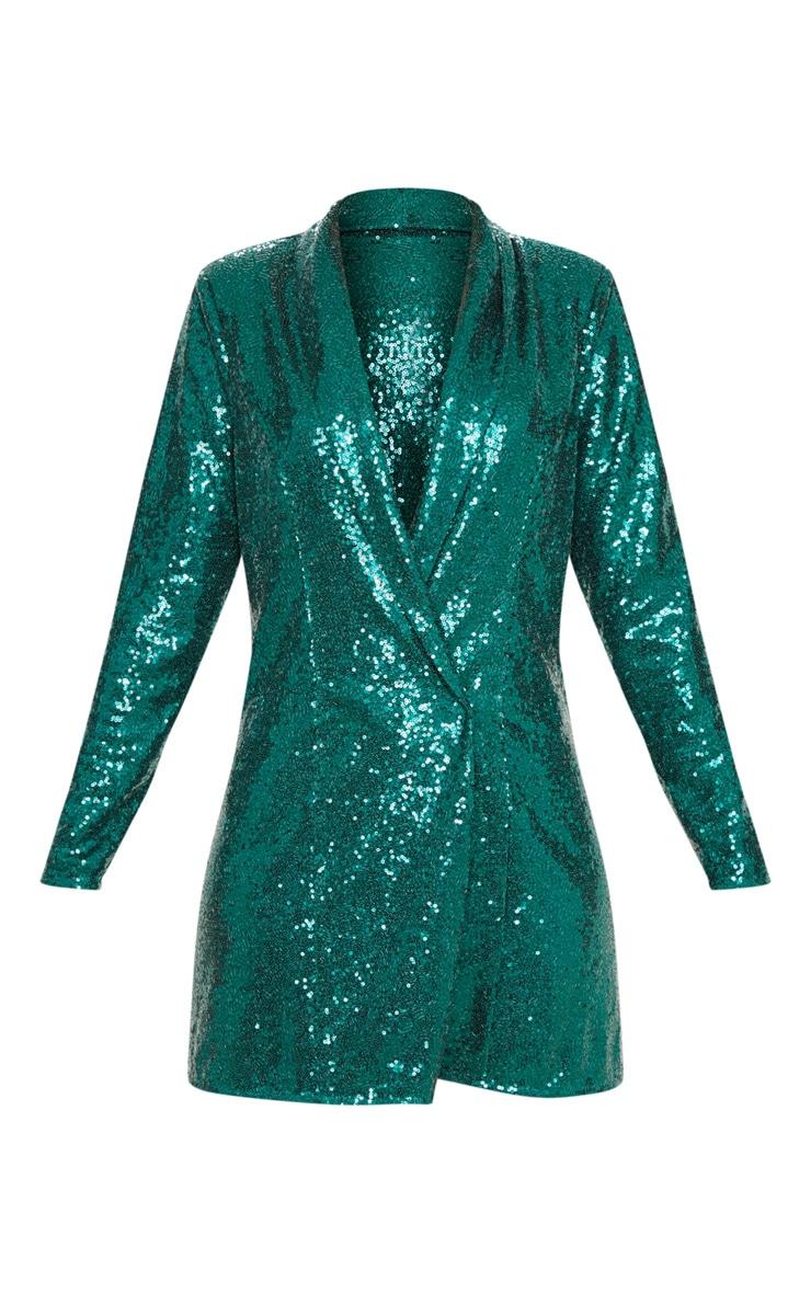 Emerald Green Sequin Oversized Blazer Dress 3