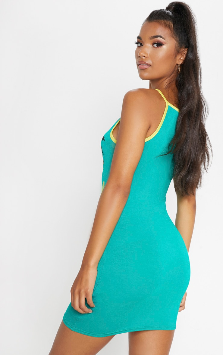 Green Jamaica Slogan High Neck Bodycon Dress 2