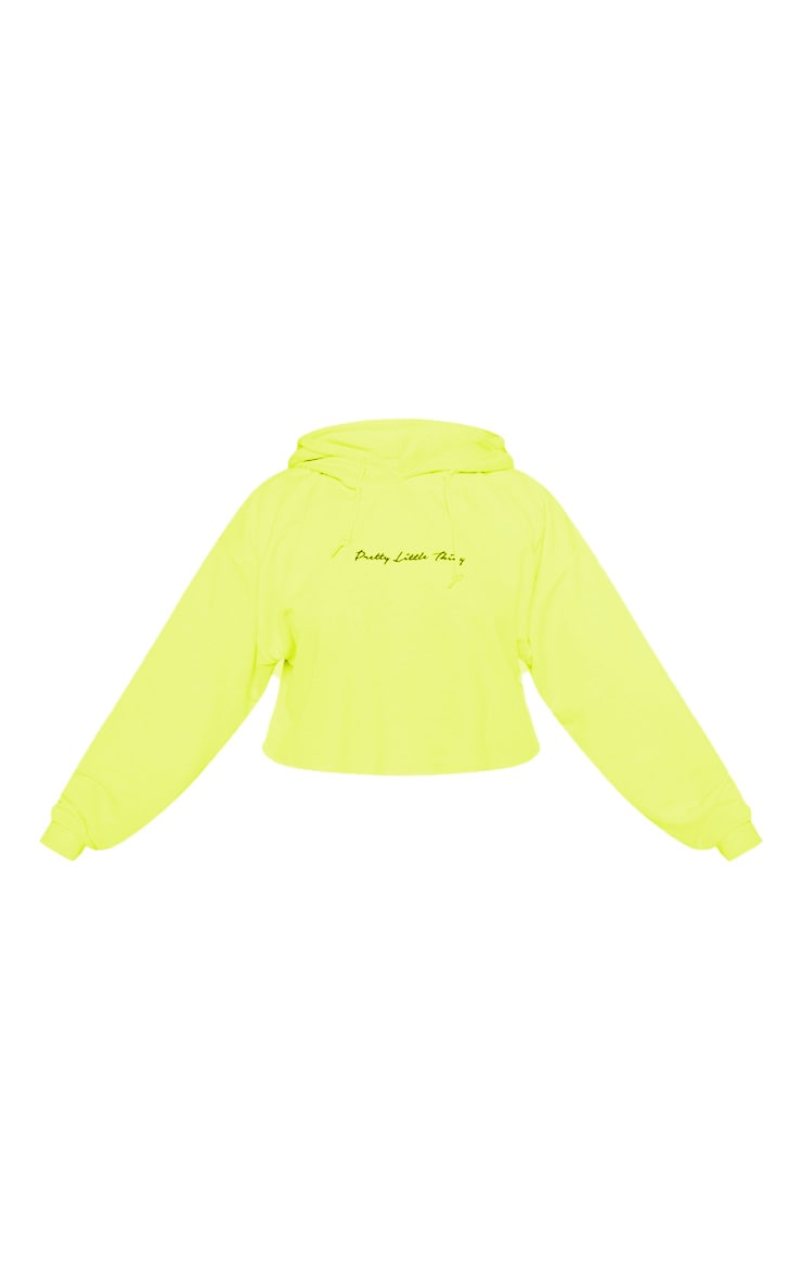 PRETTYLITTLETHING Plus Neon Lime Embroidered Crop Hoodie 4