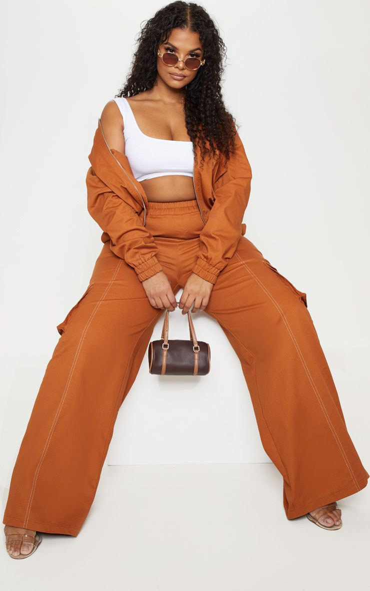Plus Toffee Utility Pocket Wide Leg Trousers 1