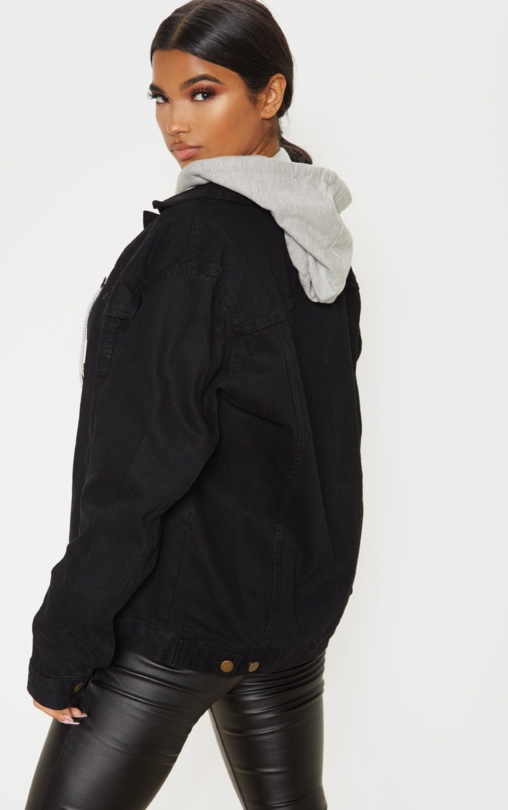 Black Oversized Boyfriend Denim Jacket 2