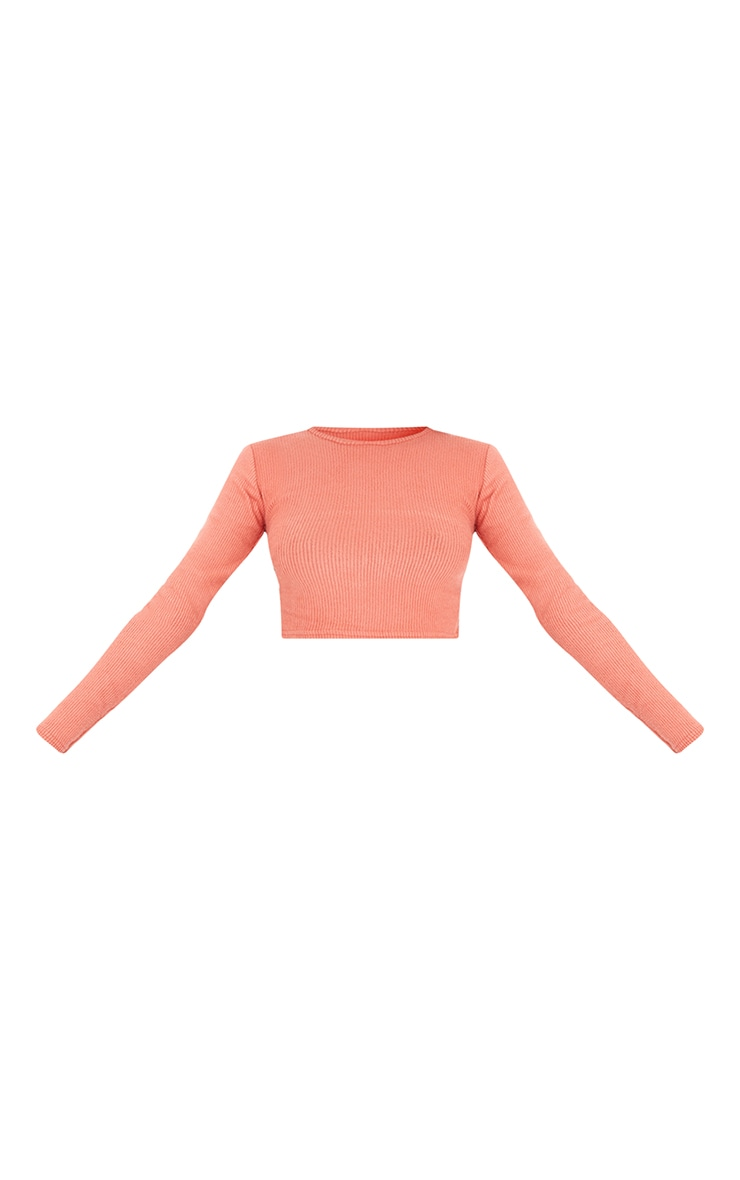 Tall Terracotta Brushed Rib Open Back Crop Top 5