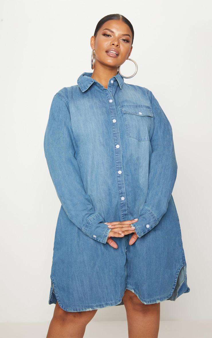 ff1fa4f43f Plus Blue Oversized Denim Shirt Dress image 1
