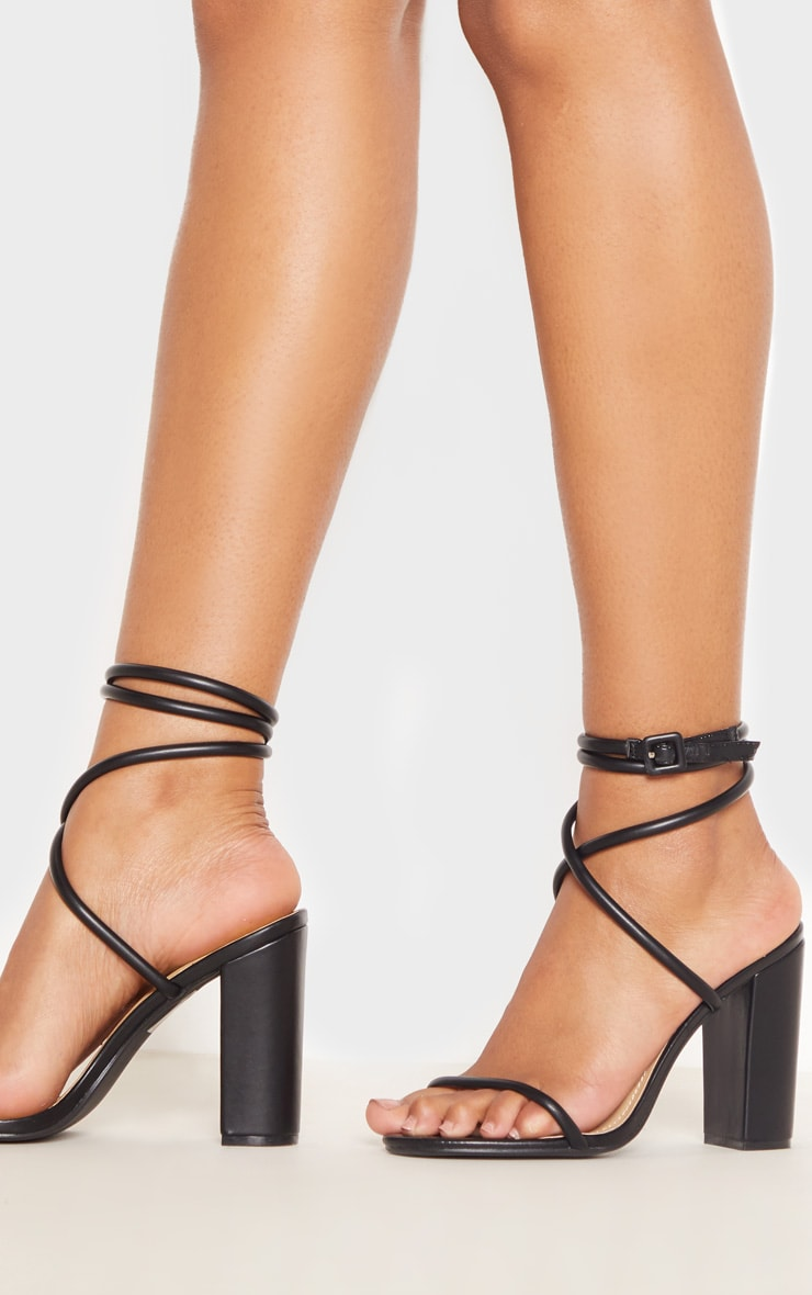 Black Tube Strappy Block Heel Sandal 2