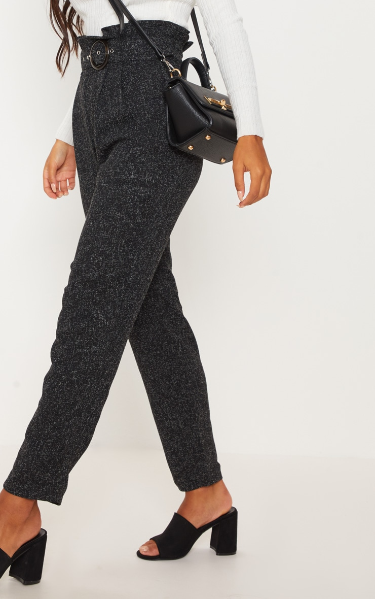 Black Belted Tweed Cigarette Pants 5