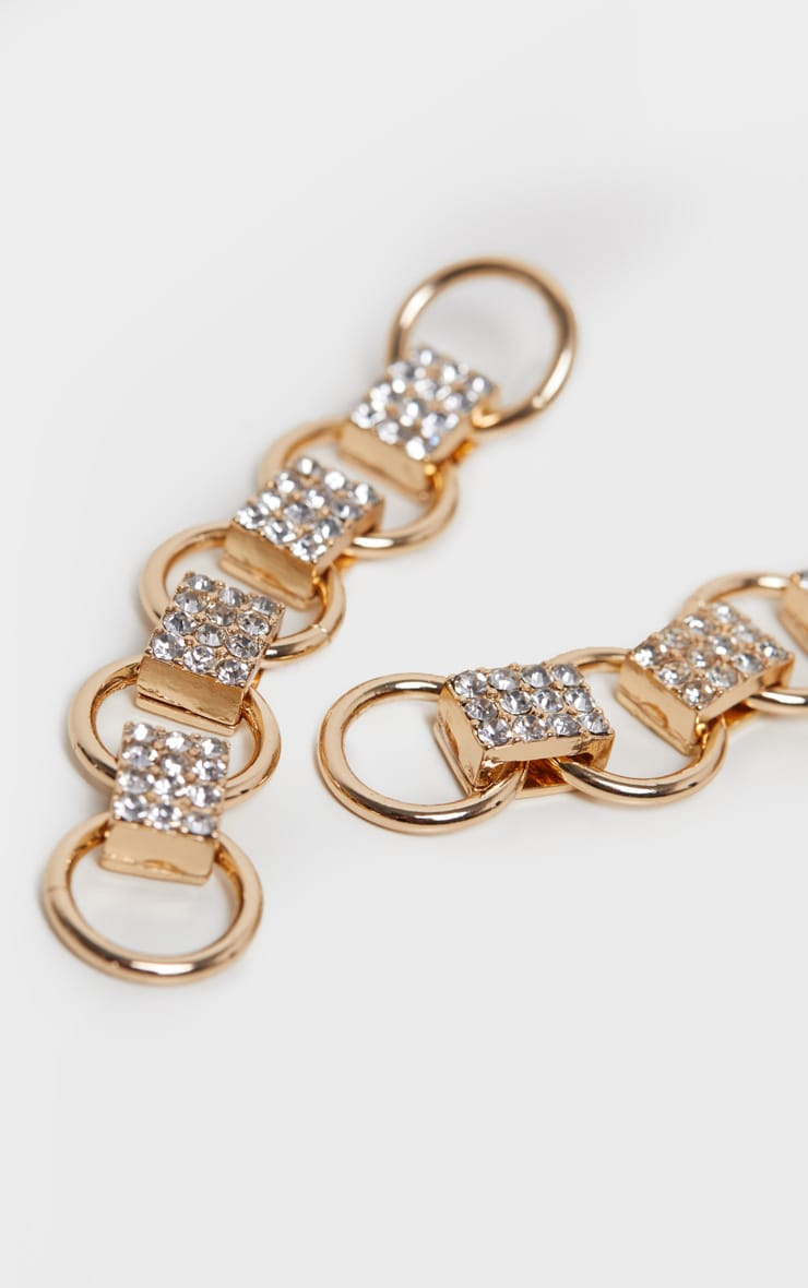 Gold Circle Pave Link Drop Earring 2