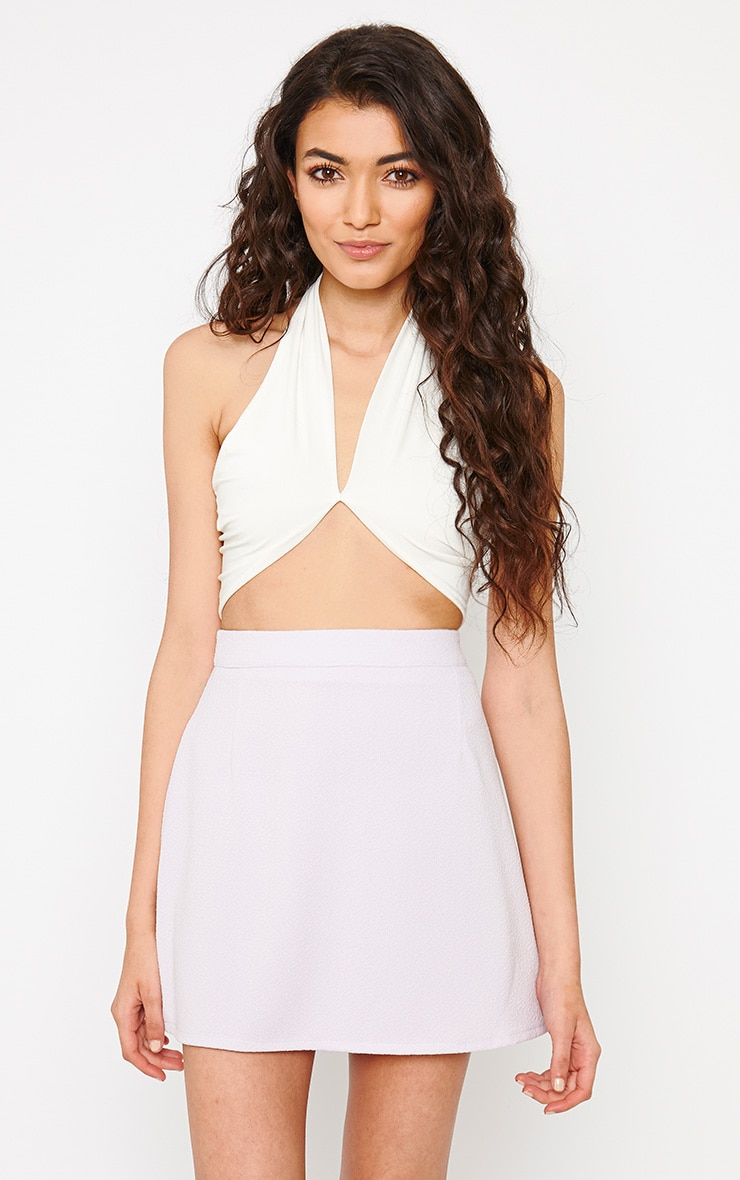 Eloise Cream Halterneck Crop Top 1